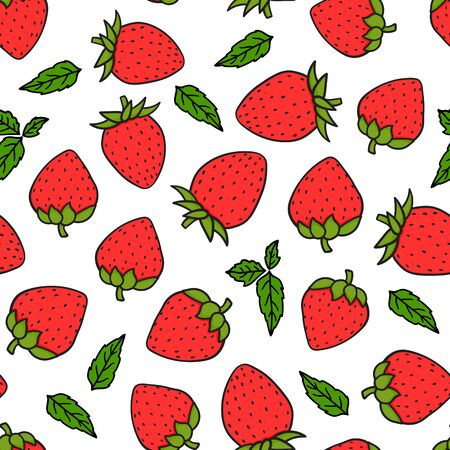 Strawberries hand-drawing seamless pattern. Vector endless design with ripe red cartoon style berries. Fresh summer tasty abstract background