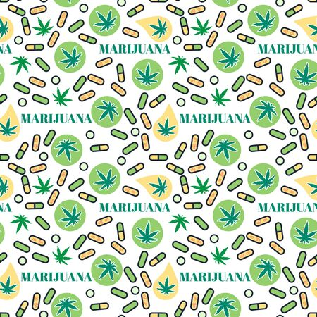 Marjuana pills Seamless pattern with leaf hemp. Organic Cannabis THC tablets. Vector texture on white background. Surface medical legalize design Çizim