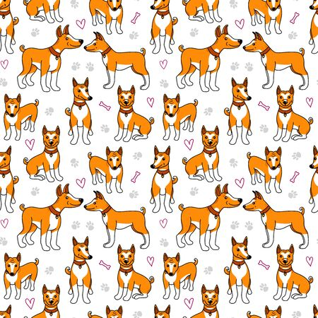 Basenji dogs seamless pattern. Puppy cartoon illustration isolated on white backgoround. Design surface