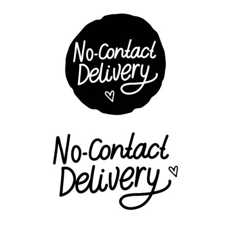 No-Contact Delivery Hand drawn inscription. Black handwriting isolated on white background.