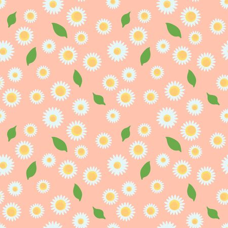 Vector camomile flowers seamless pattern on a cute colored background. Modern summer design print texture for any surface.