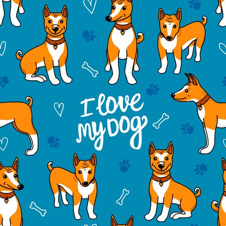 I love my dog. Basenji seamless pattern. Vector hand drawn illustration isolated on blue background. Puppy cartoon different poses - sitting and standing