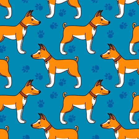 Basenji puppy cartoon style. Vector dog hand drawn illustration with footprints. Seamless pattern isolated on white background. Illustration