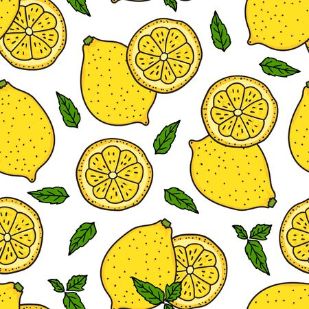 Lemon and a round slice. Seamless pattern texture. Vector hand drawn illustration. Surface yellow color kitchen design isolated on white background. Summer lemonade.