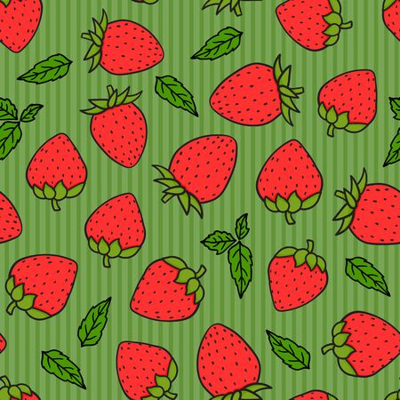 Strawberries hand-drawing on green striped seamless pattern. Vector endless design with ripe red cartoon style berries. Fresh summer tasty abstract background Çizim