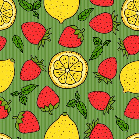 Berry Strawberry and lemon on green striped Seamless pattern texture. Yellow and Red colors. Vector hand drawn illustration Surface design
