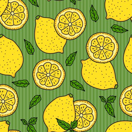 Lemon and a round slice on green striped Seamless pattern texture. Vector hand drawn illustration. Surface yellow color kitchen design background. Summer lemonade