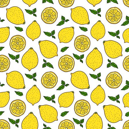 Lemon and a round slice. Seamless pattern. Vector hand drawn illustration. Surface yellow color minimalist texture design isolated on white background. Bright fresh print
