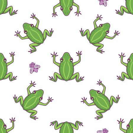 Frog with fly seamless pattern. Vector Hand drawn green character illustration isolated on white background. Cartoon froggy print texture