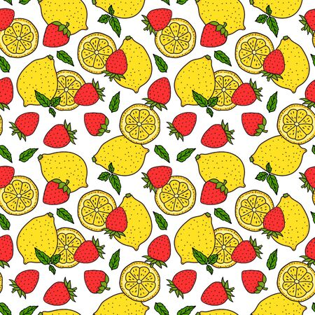 Lemon and strawberry. Seamless pattern. Whole lemon and a round slice. Red and yellow colors. Vector hand drawn illustration Surface design isolated on white background.