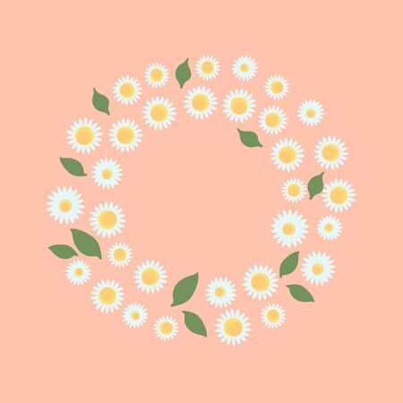 Round frame made of Camomile. Vector small flowers illustration on a cute colored background. Nature design summer card Çizim