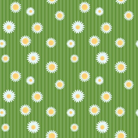 Chamomile flowers seamless pattern on a green striped background. Vector illustration texture with small flowers. Modern summer surface design. Vektorgrafik