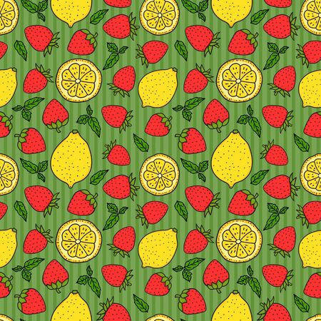 Strawberries and lemons on green striped Seamless pattern texture. Yellow and Red colors. Whole lemon and a round slice. Vector hand drawn illustration Surface design background. Çizim