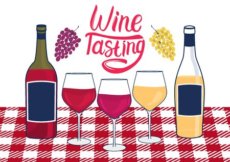 Wine Tasting inscription. Bottles and wineglass with white and red wine. Standing on the table with a tablecloth. Vector illustration. Bunches of grapes.