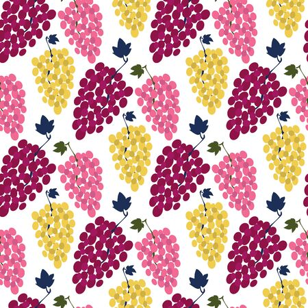 Grape bunch seamless pattern. Wine grape varieties. Red, light, pink berry. Vector illustration isolated on white background. Winery Modern Surface Design