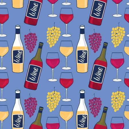 Wine bottles and glasses seamless pattern. Wine Glasses. Bunches of grapes. Design winery surface Vector hand illustration on a blue background.
