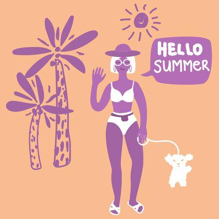 Woman in a swimsuit with white cute dog. Speech bubble Hello Summer. Hand drawn palm illustration. Beach bikini walk Vector stock girl character