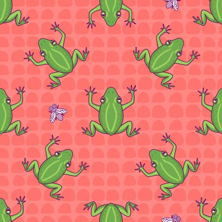 Frog seamless pattern. Hand drawn illustration Vector repeat surface design. Color tile ornament. Wild summer background Çizim