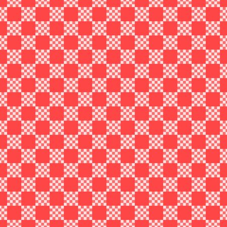 Checkered seamless pattern texture. Red and white color. Kitchen chess texture print design. Vector stock illustration background. Çizim