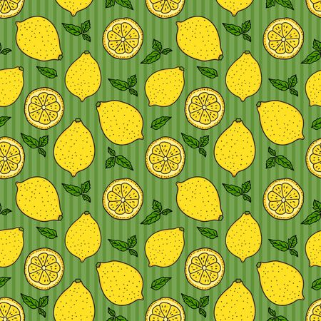 Lemon and a round slice on green striped Seamless pattern. Vector hand drawn illustration. Surface yellow color minimalist texture design background.