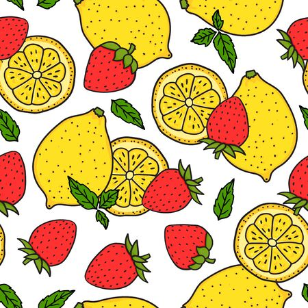Lemon and strawberry with mint leaves. Seamless pattern. Red and yellow colors. Whole lemon and a round slice. Vector hand drawn illustration. Surface design isolated on white background.