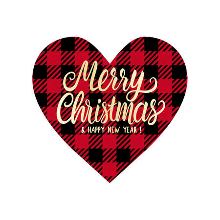 Cage heart with Merry Christmas lettering inscription. Winter Design tag or card isolated on white background. Vector stock illustration. Red on black color vichy Çizim
