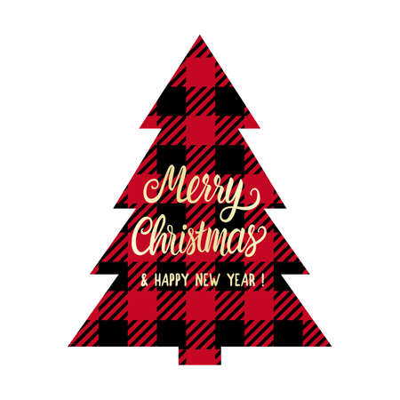 Merry Christmas lettering on checkered tree shape. Red and black color cage tag or print. Vector Winter holiday design isolated on white background Çizim