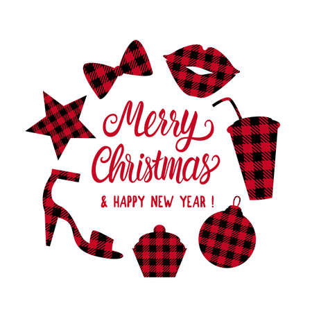 Merry Christmas frame with set shape cage red and black. Lips, christmas ball, star, slingbacks, cup, bow tie. Vector Winter holiday party design isolated on white background Çizim