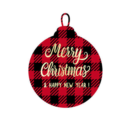Checkered shape christmas ball with Merry Christmas lettering inscription. Red and black color. Vector Winter holiday design isolated on white background