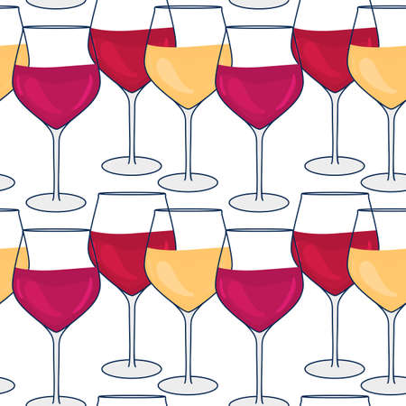 Glass with red and white Wine. Vector seamless pattern. Hand drawn wineglass illustrations isolated on backgound. Ilustração Vetorial