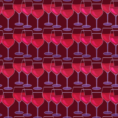 Glasses with red wine. Seamless pattern with wineglasses. Wine event surface design. Vector illustration isolated on a burgundy background. Striped repeating texture.