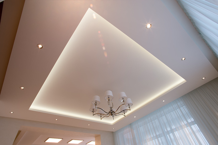 The White ceiling and illuminated with LED