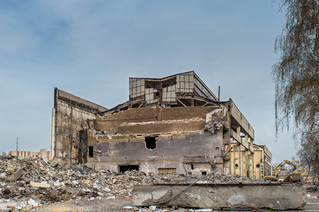 Ruins old factory on blue sky background