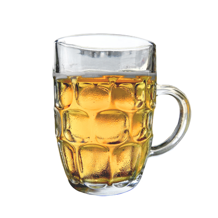 Cold beer mug with handle on white background Фото со стока - 85166621