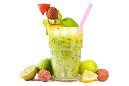 Kiwi cocktail or smoothie with fruits  photo