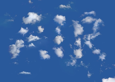 The word air written in clouds on a blue sky Stock Photo - 12418888