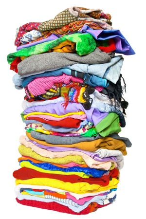 messy clothes: Stack of clothes Stock Photo