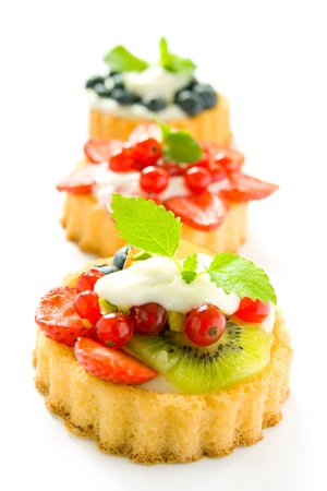 Colorful fruit tartlets photo