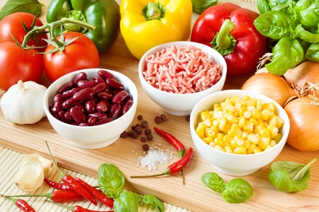 tex: Raw ingredients for a chili con carne