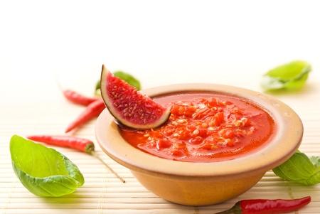 Fresh hot asian chili sauce photo