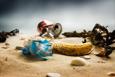 Pollution des plages Banque d'images