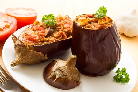 Two stuffed aubergines Stock Photo - 12420474