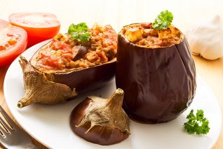 Two stuffed aubergines Stock Photo