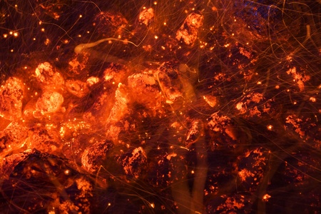 embers: Glowing coals and sparks