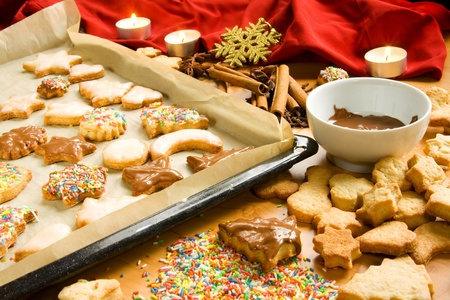 cookie sheet: Preparing Christmas cookies
