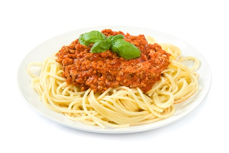 spaghetti dinner: Spaghetti bolognese on white Stock Photo