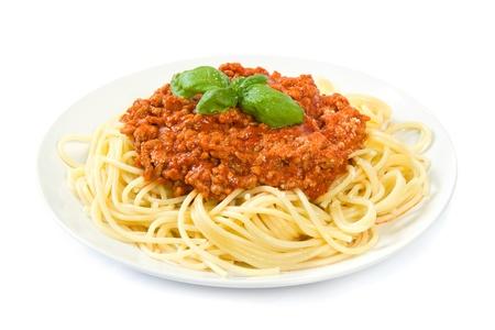 spaghetti: Spaghetti bolognese op wit Stockfoto