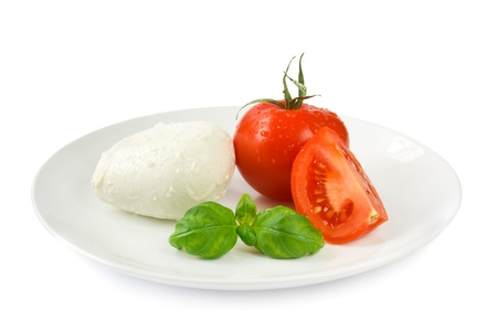 Mozzarella tomato and basil photo