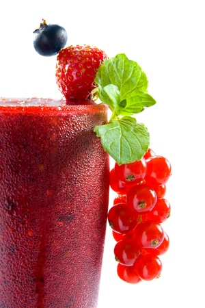 Ice cold red berry smoothie photo