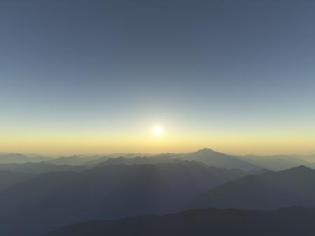 far: Mountain silhouettes illustration Stock Photo